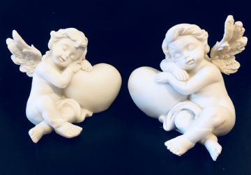 Cherub Pair SLEEPING on HEART (Set of 2) 937373